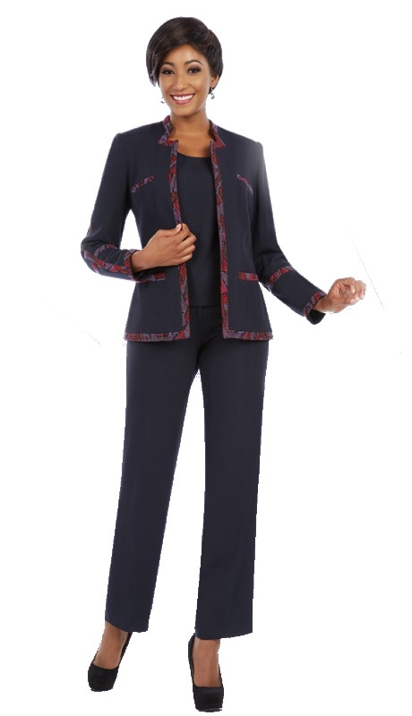 Ben Marc Executive 11616 ( 3pc Womens Career Suit With Textured And Pattern Trim On Jacket WIth Cami And Pant )