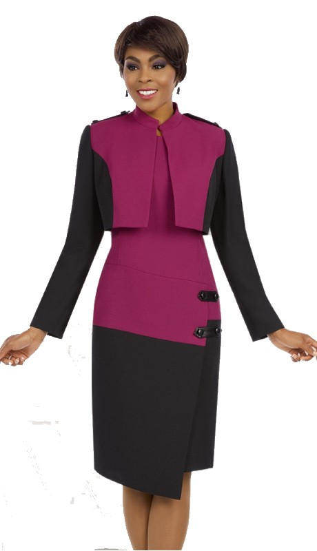 Ben Marc Executive 11630 ( 2pc Ladies Church And Career Dress With Button And Tab Details On Shoulder of Jacket And Hip )