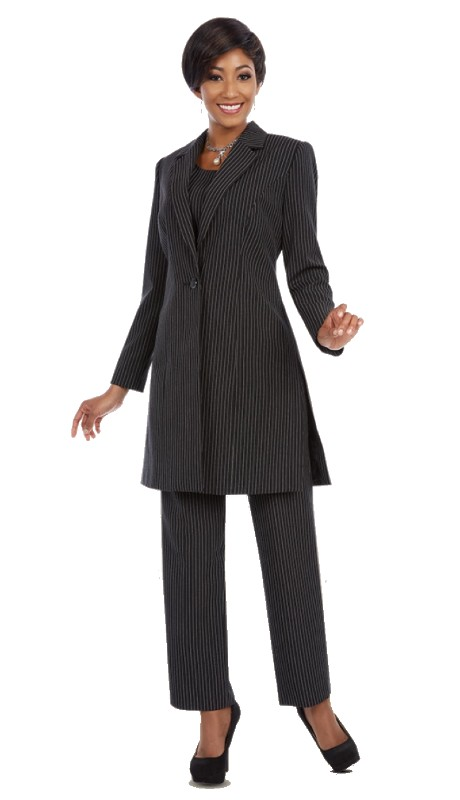 Ben Marc Executive 11642 ( 3pc Ladies Career Suit  With Long Button Front Jacket , Cami And Pant In Pin Stripe )