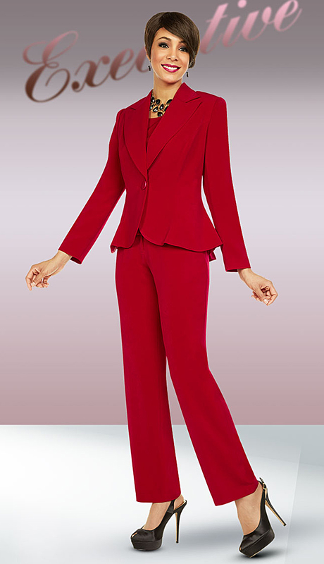 Ben Marc Executive 11721-RE ( 2pc Church And Career Pant Suit )