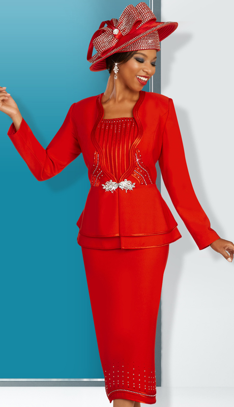 Ben Marc 48321 ( 3pc First Ladies Silk Sunday Suit With Ornate Clasp And Rhinestone Design On Jacket And Skirt )