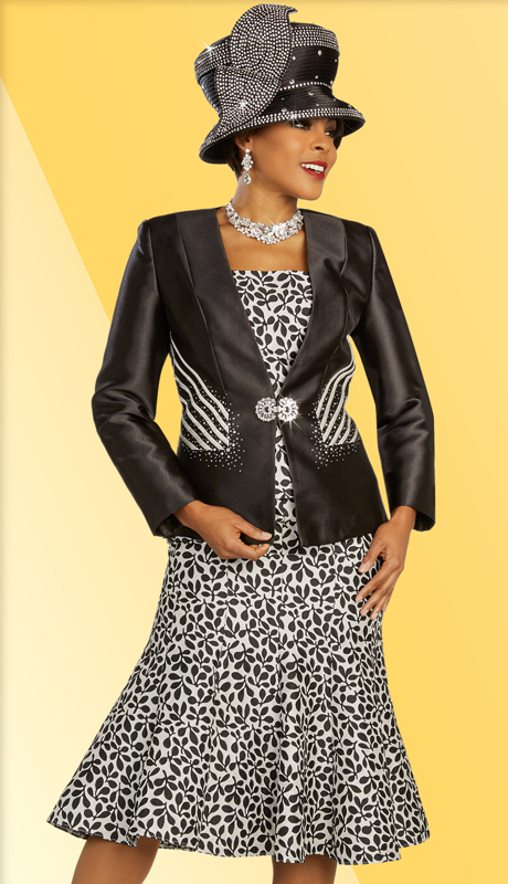 Ben Marc 48332 ( 3pc Novelty Womens Suit For Sunday With Floral Patterned Skirt And Cami, And Jacket With Striped Accents )