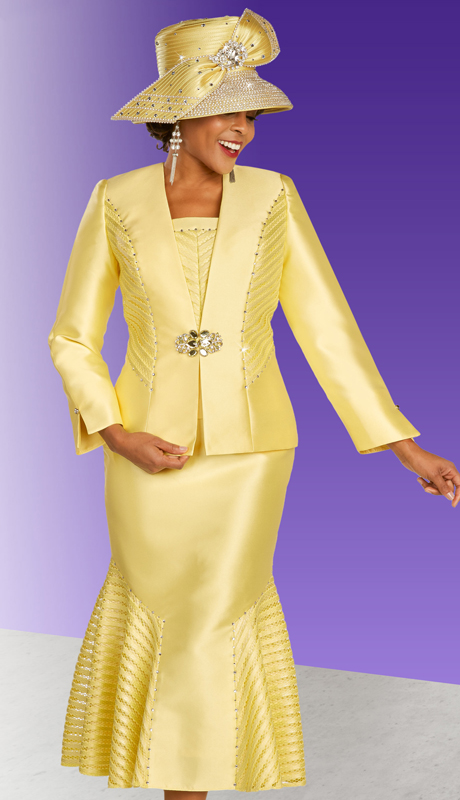 Ben Marc 48334 ( 3pc Silk Ladies Suit For Church With Rhinestone Studded Geometric Accent Patterns  And Ornate Clasp )