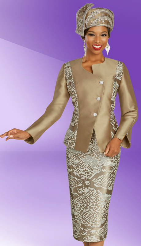 Ben Marc 48336 ( 2pc Silk Ladies Sunday Suit With Snake Skin Pattern Design And Asymmetrical Buttons On Jacket )