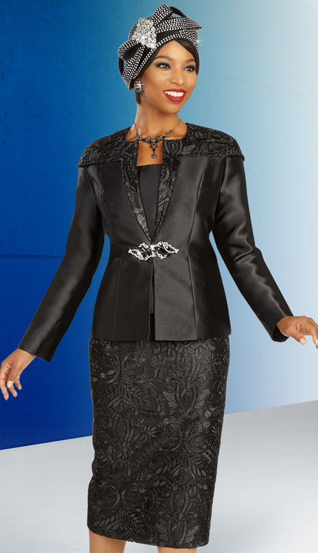 Ben Marc 48337 ( 3pc Silk With Lace Ladies Suit For Church With Decorative Clasp With Accented Collar And Shoulders )