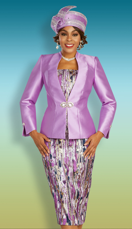 Ben Marc 48341 ( 3pc Silk With Novelty Womens Church Suit With Pleated Jacket And Printed Skirt And Cami )