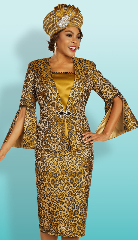 Ben Marc 48342 ( 3pc Novelty First Ladies Sunday Suit With Animal Print, Flare Sleeves, And Decorative Clasp )