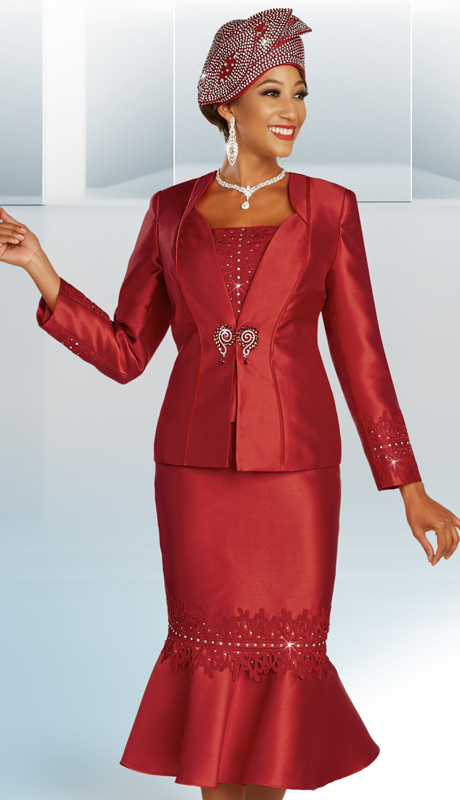 Ben Marc 48345 ( 3pc Silk Womens Suit For Sunday With Rhinestone Embellished Applique  Accents On Skirt And Sleeves )