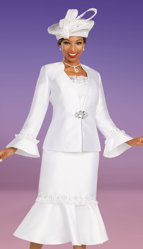 Ben Marc 48347 ( 3pc Silk Womens Sunday Suit With Embroidered Bands On Skirt And Sleeves )