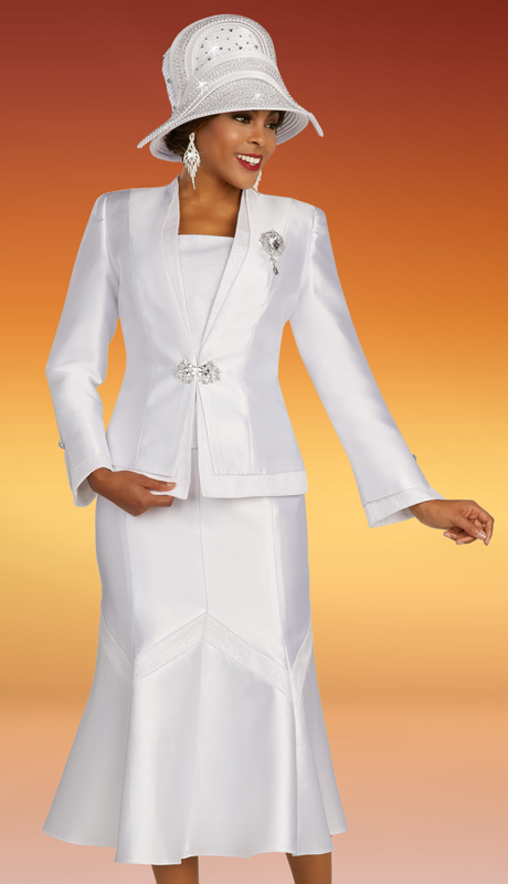 Ben Marc 48349 ( 3pc Silk Womens Suit For Sunday With Sewn Geometric Pattern On Skirt And Layered Look On Jacket )