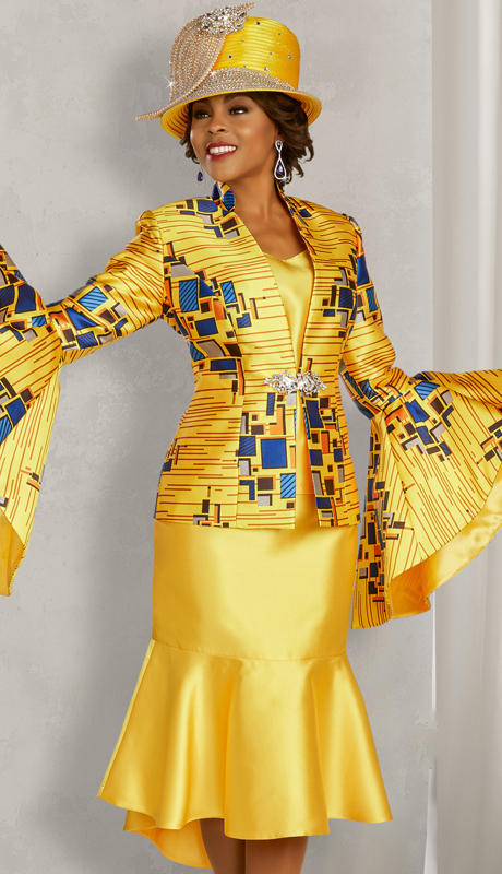 Ben Marc 48351 ( 3pc Silk Womens Suit For Sunday With Contrasting Geometric Print, Flare Sleeves And Skirt, And Ornamental Clasp )