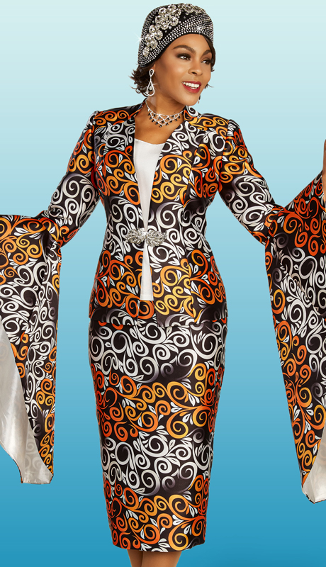 Ben Marc 48352 ( 3pc Silk Womens Church Suit With Abstract Swirl Design And Flowing Sleeves )
