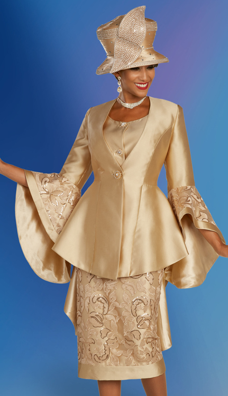 Ben Marc 48353 ( 3pc Silk Womens Church Suit With Embroidered Design, And Flare Jacket And Sleeves )