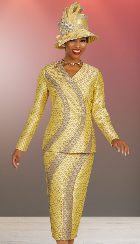 Ben Marc 48323 ( 2pc Brocade Ladies Suit For Church With Elaborate Scale And Swirl Pattern )
