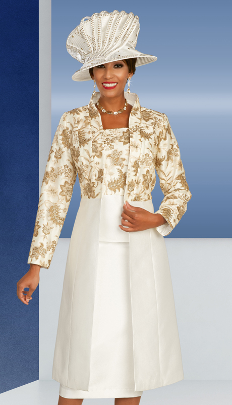 Ben Marc 48356 ( 3pc Silk First Ladies Church Suit With Decorative Nature Inspired Pattern On Jacket And Cami )