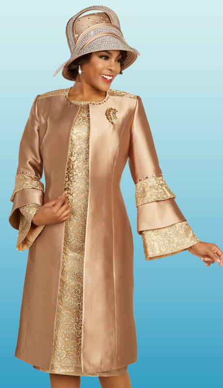Ben Marc 48358 ( 2pc Silk With Lace First Ladies Church Dress With Patterned Jacket, Layered Patterned Sleeves, And Detachable Brooch )