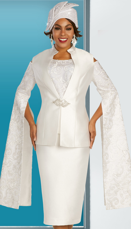 Ben Marc 48359 ( 3pc Silk Ladies Suit For Church With Open Shoulders, With Flowing Elaborate Sleeves And Ornate Clasp )