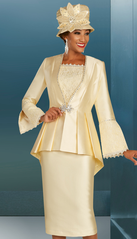 Ben Marc 48384 ( 3pc Silk First Ladies Church Suit With Pleated Jacket, Lace Timmed Sleeves And Cami And Ornate Clasp )