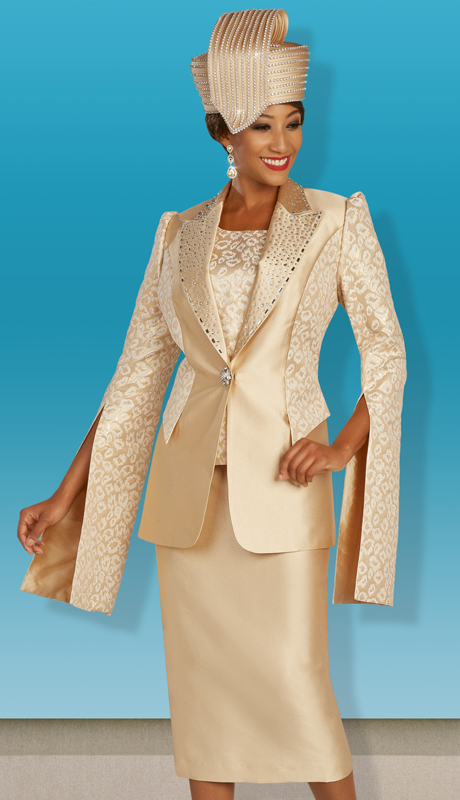 Ben Marc 48385 ( 3pc Silk Womens Suit For Church With Solid And Patterned Jacket, Skirt And Cami With Jeweled Clasp )