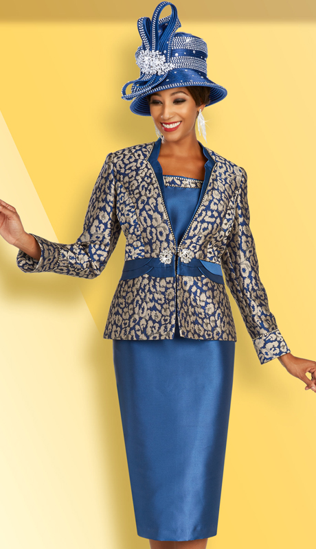 Ben Marc 48364 ( 3pc Novelty Womens Skirt Suit For Church With Elaborately Printed Jacket With Belt To Match )