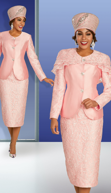 Ben Marc 48371 ( 3pc Silk With Lace Womens Suit For Sunday With Intricate Patterning, Ornate Buttons, And Detachable Cape )
