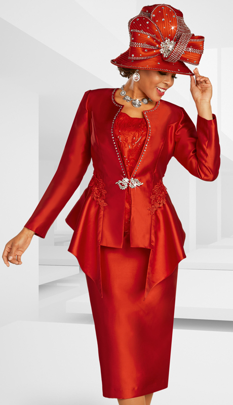 Ben Marc 48372 ( 3pc Silk Womens Suit For Church With Rhinestone Trim, Elaborate Embellishments, And Ornate Clasp )