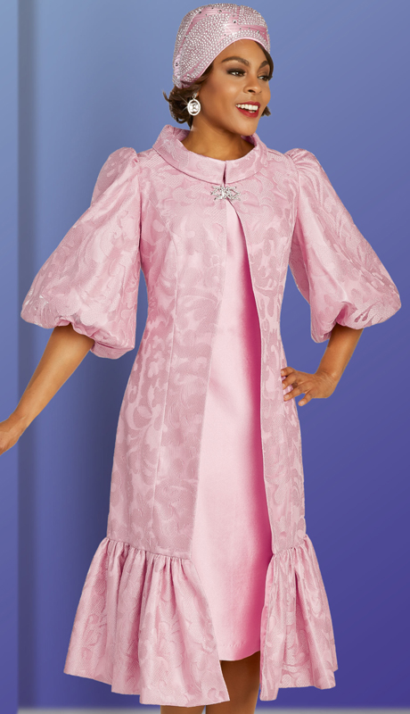 Ben Marc 48374 ( 2pc Lace Ladies Sunday Dress With Patterned Jacket, Ruffled Trim, And Decorative Three Quarter Sleeves )