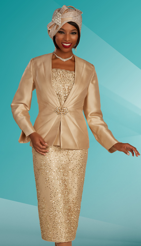 Ben Marc 48316 ( 3pc Silk With Lace Ladies Church Suit With Ornate Clasp And Patterned Skirt And Cami )