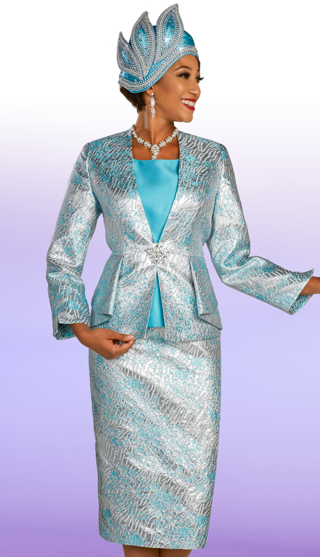 Ben Marc 48317 ( 3pc Brocade Ladies Church Suit With Patterned Skirt And Jacket And Ornate Clasp )