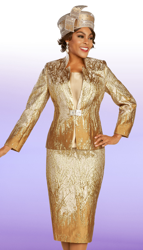 Ben Marc 48318 ( 3pc Brocade Womens Suit For Church With Gold Leaf Inspired Patterning )
