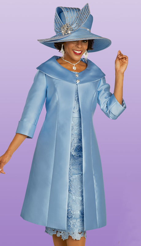 Ben Marc 48319 ( 2pc Silk With Lace First Ladies Church Dress With Pleated Jacket, With Elaborate Collar And Three Quarter Sleeves )