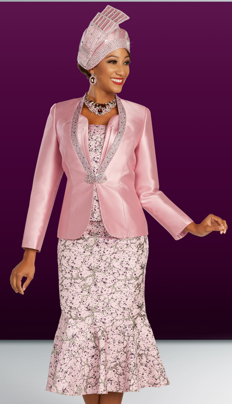Ben Marc 48330 ( 3pc Novelty Womens Sunday Suit With Ornate Clasp And Collar On Jacket And Floral Skirt And Cami )