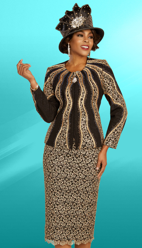 Ben Marc 48309 ( 2pc Knit Ladies Church Suit With Radial Patterned Top And Intricate Skirt )