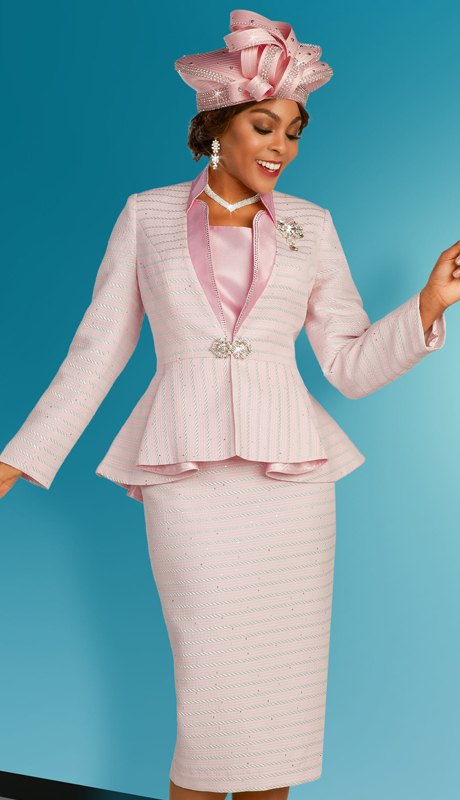 Ben Marc 48310 ( 3pc Brocade Womens Sunday Suit With Shimmering Pin Stripes, Solid Collar, Jeweled Clasp, And Detachable Brooch )