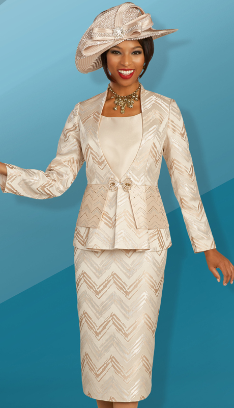 Ben Marc 48311 ( 3pc Novelty Womens Church Suit With Art Deco Inspired Design On Jacket And Skirt )