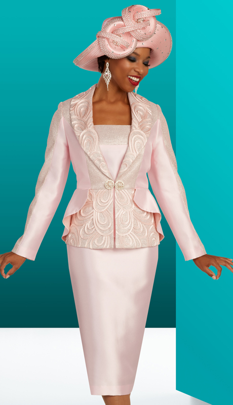 Ben Marc 48312 ( 3pc Silk With Brocade Womens Suit For Church With Swirl Pattern And Ruffled Layering On Jacket )