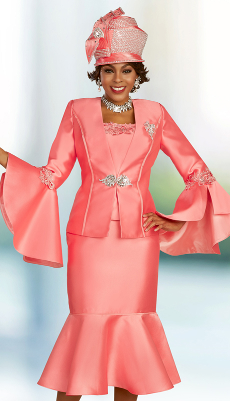 Ben Marc 48331 ( 3pc Silk Ladies Church Suit With Flare Sleeves And Skirt, Ornate Clasp, And Detachable Brooch )