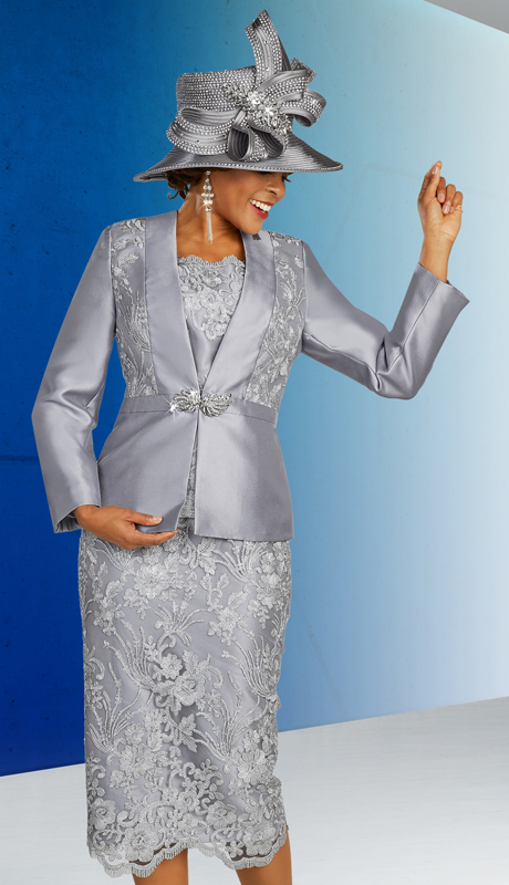 Ben Marc 48315 ( 3pc Silk With Lace Ladies Church Suit With Alternating Design On Jacket, Skirt, And Cami )
