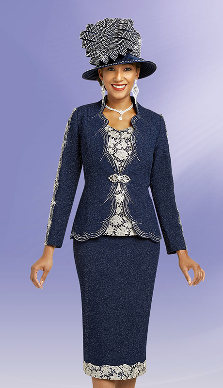 Ben Marc 48150-NS ( 3pc Womens Knit Church Suit With Lace And Scalloped Trim )