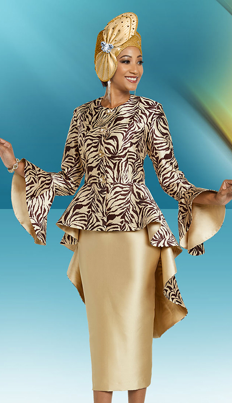 Ben Marc 48161-CP ( 2pc Silk Ladies Church Suit With Long Peplum Jacket And Print Design )