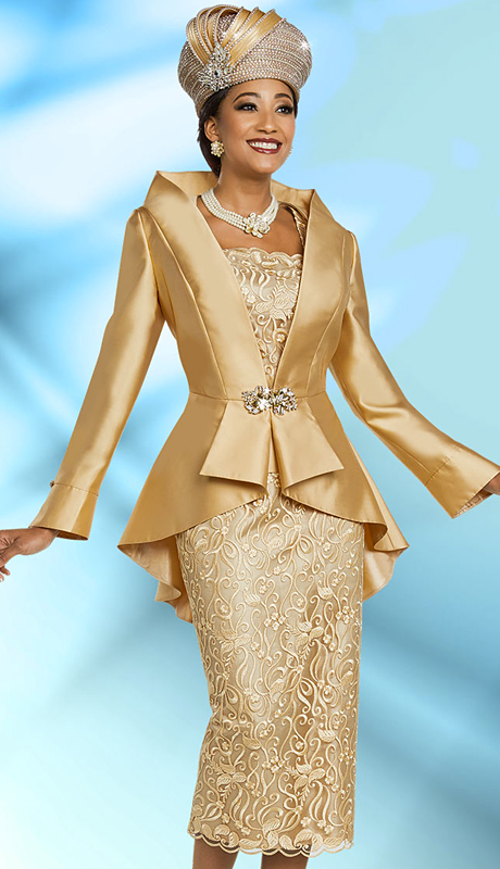 Ben Marc 48163-GO ( 3pc Silk Womens Church Suit With Lace Skirt And Solid Peplum Jacket )