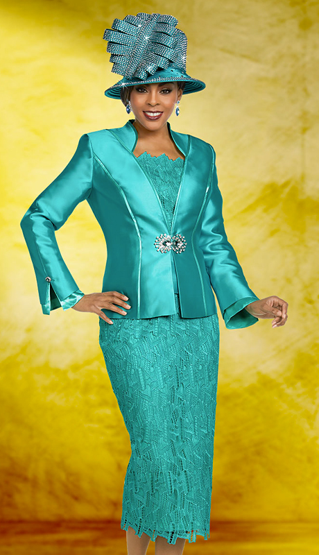 Ben Marc 48164-AM ( 3pc Silk Womens Church Suit With Lace Skirt And Solid Jacket )