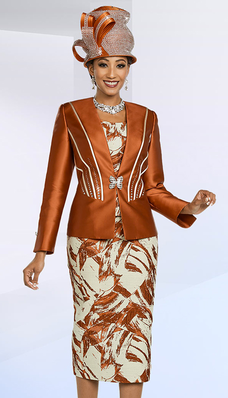 Ben Marc 48167-PM ( 3pc Brocade Embellished Womens Church Suit With Printed Pattern )