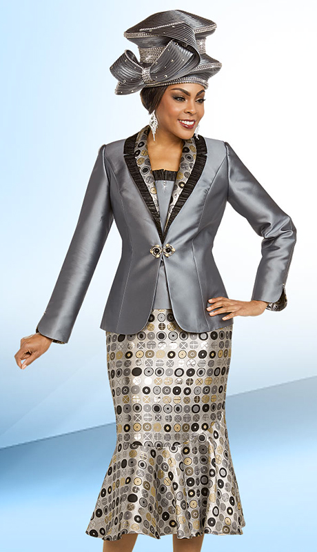 Ben Marc 48169-PP ( 3pc Brocade Womens Church Suit With Flounce Skirt And Ruffle Lapel Trims )