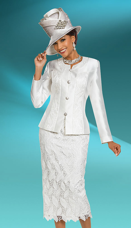 Ben Marc 48170-WH ( 3pc Silk First Lady Suit With Lace Design )