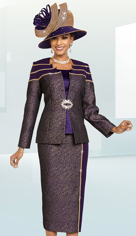 Ben Marc 48173-EG ( 3pc Womens Brocade Church Suit With Textured And Solid Design )