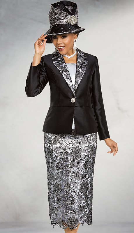 Ben Marc 48177-BS ( 3pc Silk With Lace Womens Church Suit With Notch Lapel Solid Jacket )