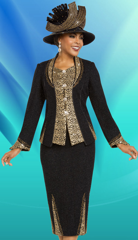 Ben Marc 48152-BG ( 2pc Womens Knit Suit For Church With Intricate Trim Designs )