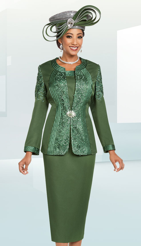 Ben Marc 48180-OL ( 3pc Silk Womens Church Suit With Lace Pattern Inset Design )