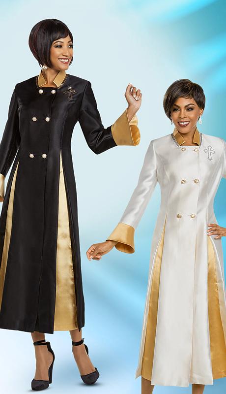 Ben Marc 48181-BGO ( 1pc Silk Pleated Womens Church Robe With Bell Cuffs )